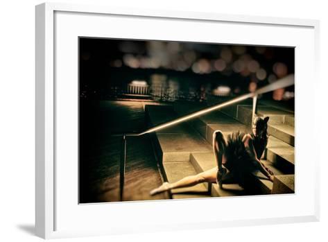 A Classic Ballerina Dances in Brooklyn Bridge Park-Kike Calvo-Framed Art Print