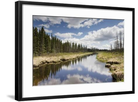 Clouds Reflected in a Tranquil River Lined with Trees; Thunder Bay, Ontario, Canada-Design Pics Inc-Framed Art Print