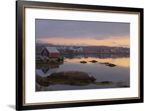 Fishing Village Along the Water's Edge at Sunset; Fogo Island, Newfoundland, Canada-Design Pics Inc-Framed Art Print