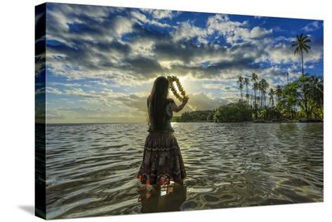 A Hula Dancer in Low Tide Water in Front of Kapuaiwa Palm Grove, Molokai Island-Richard Cooke-Stretched Canvas Print