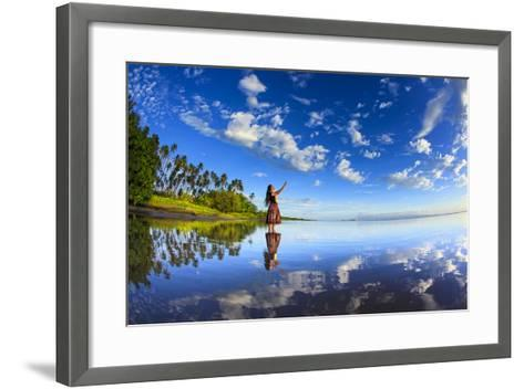A Hula Dancer in Low Tide Water in Front of Kapuaiwa Palm Grove, Molokai Island-Richard Cooke-Framed Art Print