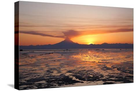 Ash Cloud Rises from Mt. Redoubt at Sunset During Low Tide Near Ninilchik, Alaska-Design Pics Inc-Stretched Canvas Print