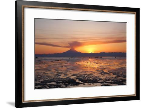 Ash Cloud Rises from Mt. Redoubt at Sunset During Low Tide Near Ninilchik, Alaska-Design Pics Inc-Framed Art Print