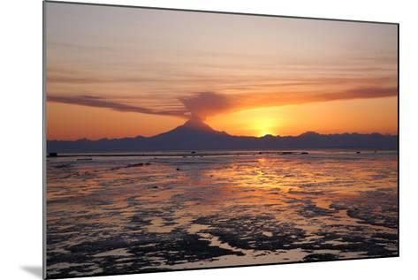 Ash Cloud Rises from Mt. Redoubt at Sunset During Low Tide Near Ninilchik, Alaska-Design Pics Inc-Mounted Photographic Print