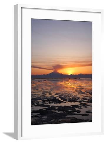 Ash Cloud Rises from Mt. Redoubt at Sunset During Low Tide Near Ninilchik, Alaska-Design Pics Inc-Framed Art Print