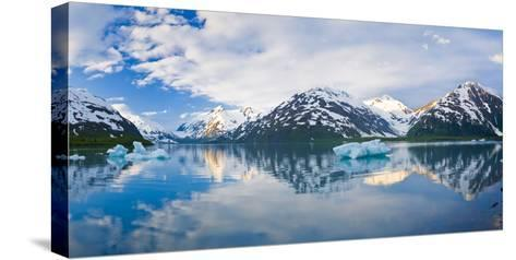 Panorama Scenic of Portage Lake with Icebergs and Chugach Mountains Reflecting, Southcentral Alaska-Design Pics Inc-Stretched Canvas Print