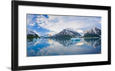 Panorama Scenic of Portage Lake with Icebergs and Chugach Mountains Reflecting, Southcentral Alaska-Design Pics Inc-Framed Art Print