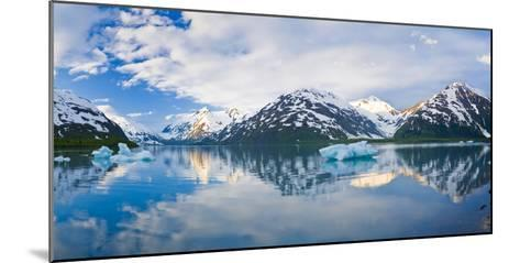 Panorama Scenic of Portage Lake with Icebergs and Chugach Mountains Reflecting, Southcentral Alaska-Design Pics Inc-Mounted Photographic Print