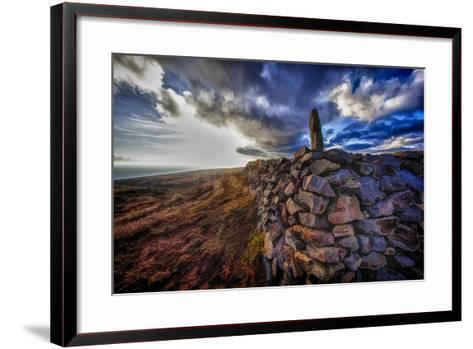 The East Corner of Kaana Heiau or Temple with a Standing Koa Stone, Located on Top of Kaluakoi Hill-Richard Cooke-Framed Art Print