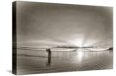 A Woman Walking in Tidal Flats in Front of Molokai South Shore Line-Richard A. Cooke Iii.-Stretched Canvas Print