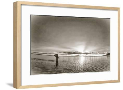 A Woman Walking in Tidal Flats in Front of Molokai South Shore Line-Richard A. Cooke Iii.-Framed Art Print