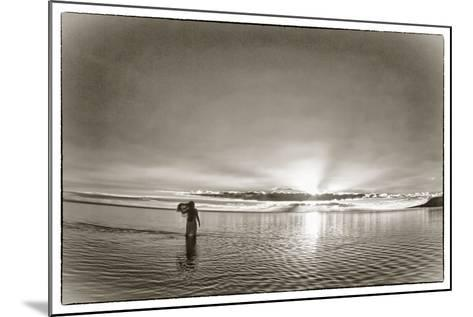 A Woman Walking in Tidal Flats in Front of Molokai South Shore Line-Richard A. Cooke Iii.-Mounted Photographic Print