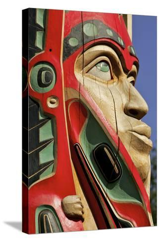Close Up of a Face on a Traditional Haida Totem Carving in Ketchikan, Alaska-Design Pics Inc-Stretched Canvas Print