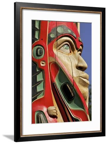 Close Up of a Face on a Traditional Haida Totem Carving in Ketchikan, Alaska-Design Pics Inc-Framed Art Print