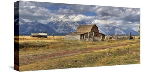 Remote Landscape with Mountains in Background; Mormon Row Historic District-Design Pics Inc-Stretched Canvas Print