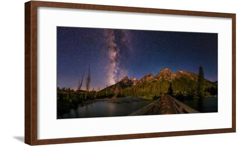 The Night Sky over a Bridge in Grand Teton National Park-Babak Tafreshi-Framed Art Print