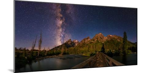 The Night Sky over a Bridge in Grand Teton National Park-Babak Tafreshi-Mounted Photographic Print