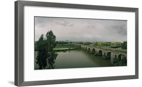 The Puente Roman, an Ancient Roman Bridge over the Guadiana River, and Lusitania Bridge Beyond-Macduff Everton-Framed Art Print