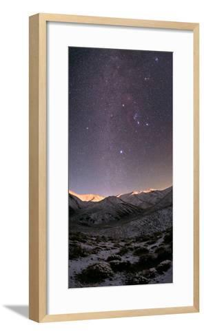 A Starry Sky over the Zagros Mountains after a Snowstorm. the Setting Moon Shines on the Peaks-Babak Tafreshi-Framed Art Print