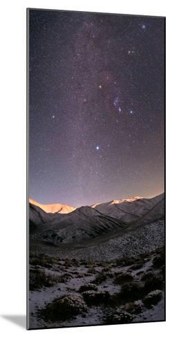 A Starry Sky over the Zagros Mountains after a Snowstorm. the Setting Moon Shines on the Peaks-Babak Tafreshi-Mounted Photographic Print