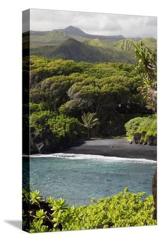 Hawaii, Maui, Hana, the Black Sand Beach of Waianapanapa-Design Pics Inc-Stretched Canvas Print