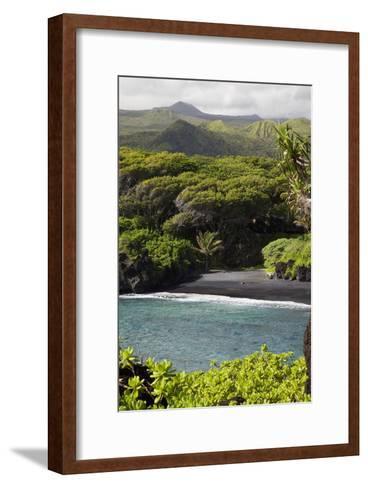 Hawaii, Maui, Hana, the Black Sand Beach of Waianapanapa-Design Pics Inc-Framed Art Print