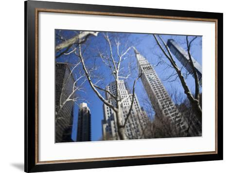 Looking Up Through Trees at Skyscrapers in New York. USA-Design Pics Inc-Framed Art Print