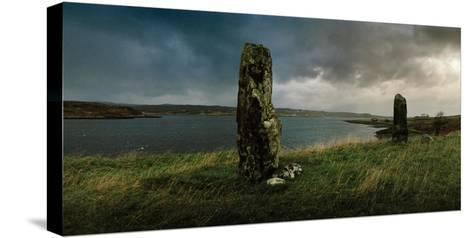 Ancient Standing Stones Along Loch Snizort Beag-Macduff Everton-Stretched Canvas Print