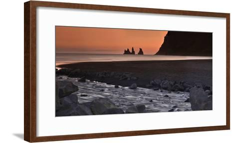 Reynisdrangar Basalt Sea Stacks, Near Vik, at Sunset-Raul Touzon-Framed Art Print