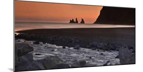Reynisdrangar Basalt Sea Stacks, Near Vik, at Sunset-Raul Touzon-Mounted Photographic Print