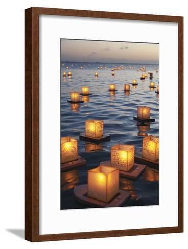 Annual Lantern Floating Ceremony During Sunset at Ala Moana; Oahu, Hawaii, United States of America-Design Pics Inc-Framed Art Print
