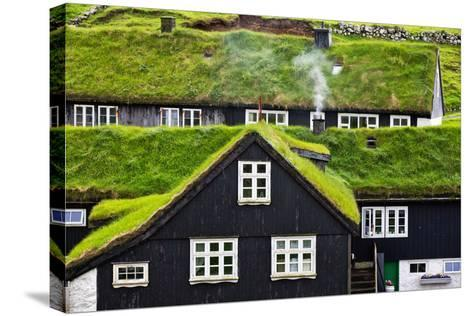 Grass Covered Rooftops on Traditional Faroese Houses-Karine Aigner-Stretched Canvas Print
