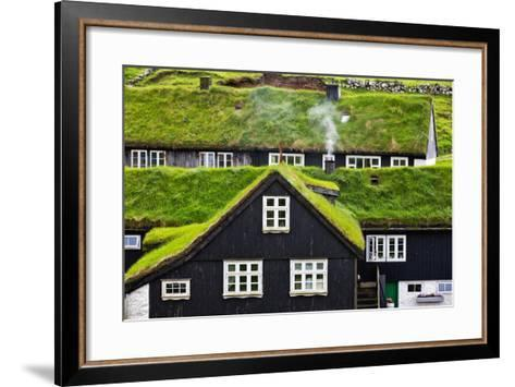 Grass Covered Rooftops on Traditional Faroese Houses-Karine Aigner-Framed Art Print