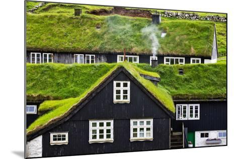 Grass Covered Rooftops on Traditional Faroese Houses-Karine Aigner-Mounted Photographic Print