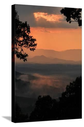 Sunset Colors a View of a Distant Mountain Range after a Rainstorm-Amy White and Al Petteway-Stretched Canvas Print