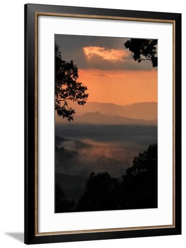 Sunset Colors a View of a Distant Mountain Range after a Rainstorm-Amy White and Al Petteway-Framed Art Print