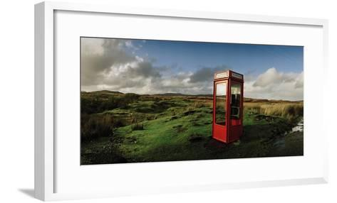 A Telephone Booth Standing Alone on a Remote Moor-Macduff Everton-Framed Art Print