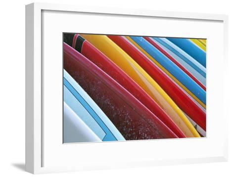 Close Up of Coloured Surfboards Lined Up; Honolulu, Oahu, Hawaii, United States of America-Design Pics Inc-Framed Art Print