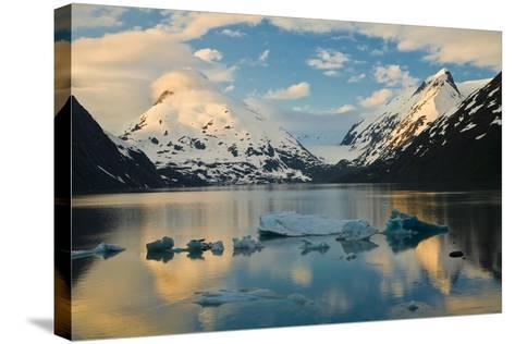 Scenic View of Dawn over Portage Lake with Icebergs in the Foreground, Southcentral Alaska-Design Pics Inc-Stretched Canvas Print