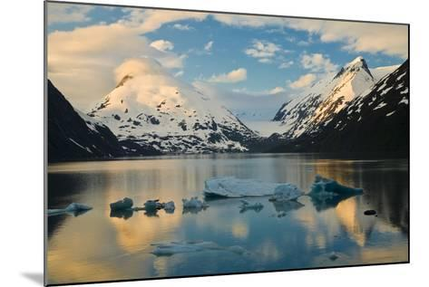 Scenic View of Dawn over Portage Lake with Icebergs in the Foreground, Southcentral Alaska-Design Pics Inc-Mounted Photographic Print