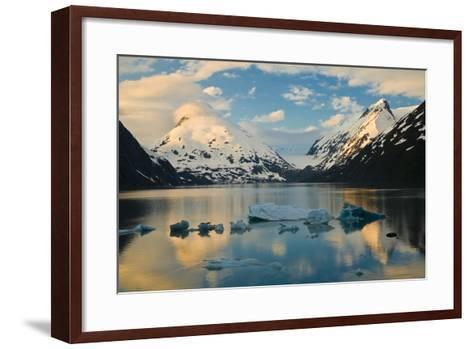 Scenic View of Dawn over Portage Lake with Icebergs in the Foreground, Southcentral Alaska-Design Pics Inc-Framed Art Print