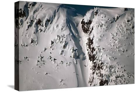 Person Snowboarding Down Chute at Eaglecrest Ski Resort Douglas Isl Near Juneau Alaska Se Winter-Design Pics Inc-Stretched Canvas Print