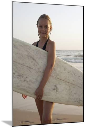 Young Girl with Surfboard-Design Pics Inc-Mounted Photographic Print