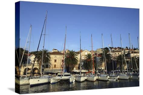 Sailboats Lined Up in Hvar Harbour-Design Pics Inc-Stretched Canvas Print