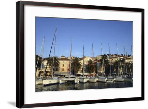 Sailboats Lined Up in Hvar Harbour-Design Pics Inc-Framed Art Print