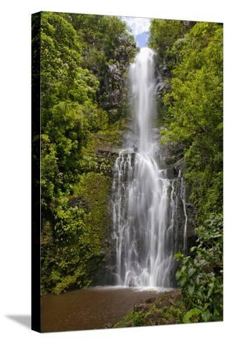 Hawaii, Maui, Wailua Falls, Large Falls with Lush Foliage-Design Pics Inc-Stretched Canvas Print