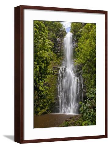 Hawaii, Maui, Wailua Falls, Large Falls with Lush Foliage-Design Pics Inc-Framed Art Print