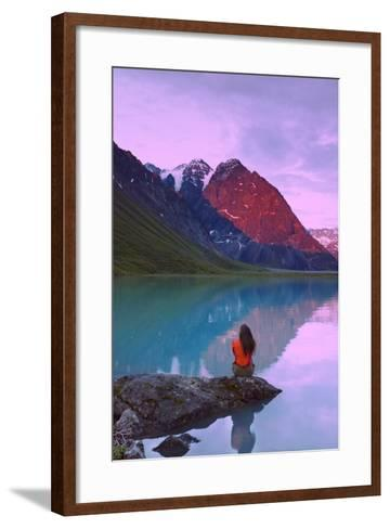 Couple Sitting on Rock Enjoying Scenery at Turquoise Lake and Telaquana Mtn Lake Clark Nat Park Ak-Design Pics Inc-Framed Art Print