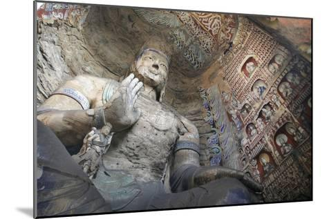 Statue and Carvings in Ancient Buddhist Temple Grotto-Design Pics Inc-Mounted Photographic Print
