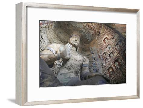 Statue and Carvings in Ancient Buddhist Temple Grotto-Design Pics Inc-Framed Art Print